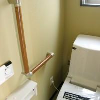 標準仕様の洗浄便座一体型便器 *手すりはオプションです。
