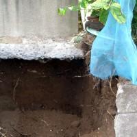 脇から土をえぐり、基礎をむき出しにします。  この時建物が枕下することは殆んどありません。